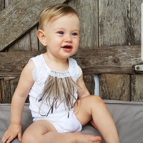 White Vintage Crochet and Emu Feather Bodysuit
