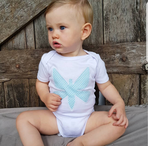 Hand Appliqued Turquoise Butterfly Short Sleeved Bodysuit