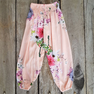 Apricot Floral Boho Pants. Summer Pants. Cotton rayon fabric.