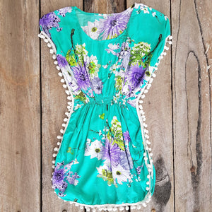 Tropical Pom Pom Dress - Turquoise Floral