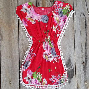 Tropical Pom Pom  Dress - Red