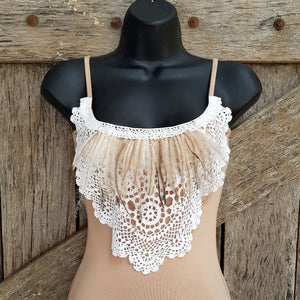 Ladies Feathers and Vintage Top - Tan