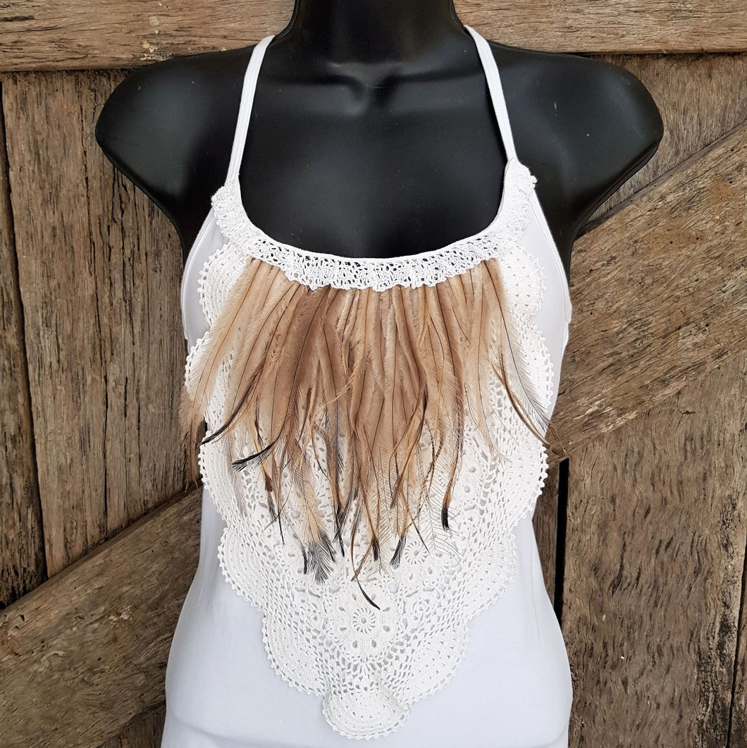 Ladies Feathers and Vintage Top - White