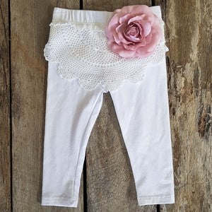 White Vintage Crochet Tights with Dusty Pink Flower Detail
