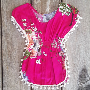 Tropical Pom Pom Dress - Hot Pink Floral
