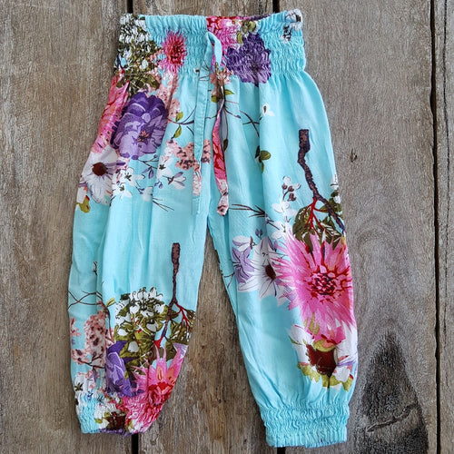 Blue Floral Boho Pants. Summer Pants. Cotton Rayon Fabric