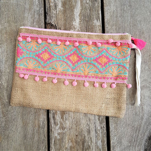 Embroidered Bag - Pink