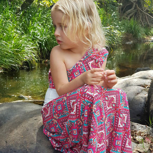 Tropical Pink Single Shoulder Maxi Dress