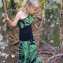 Tropical Green Single Shoulder Maxi Dress