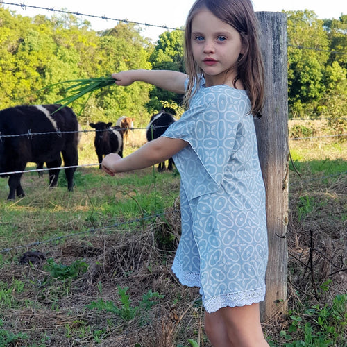 Eggshell Blue Print Kaftan - Girls Dress - Summer Dress
