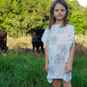 Elephant Print Kaftan - Girls Dress - Summer Dress