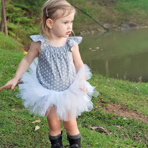 Ballerina Tutu - White with Peonie Flower