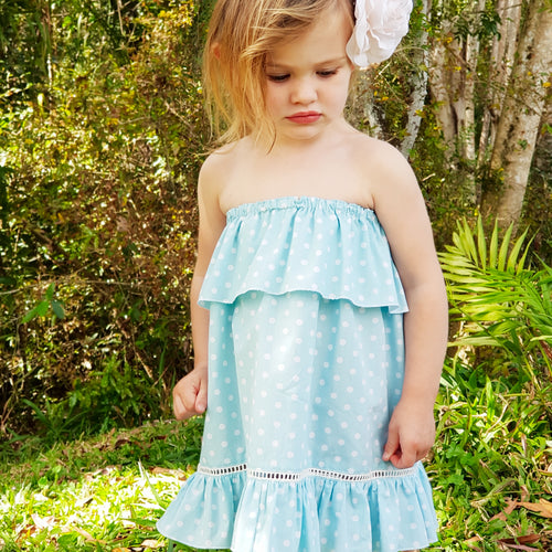 Indigo Summer Dress - Blue Mint Polka Dot