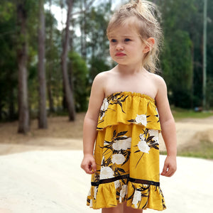 Indigo Summer Dress - Mustard Bloom