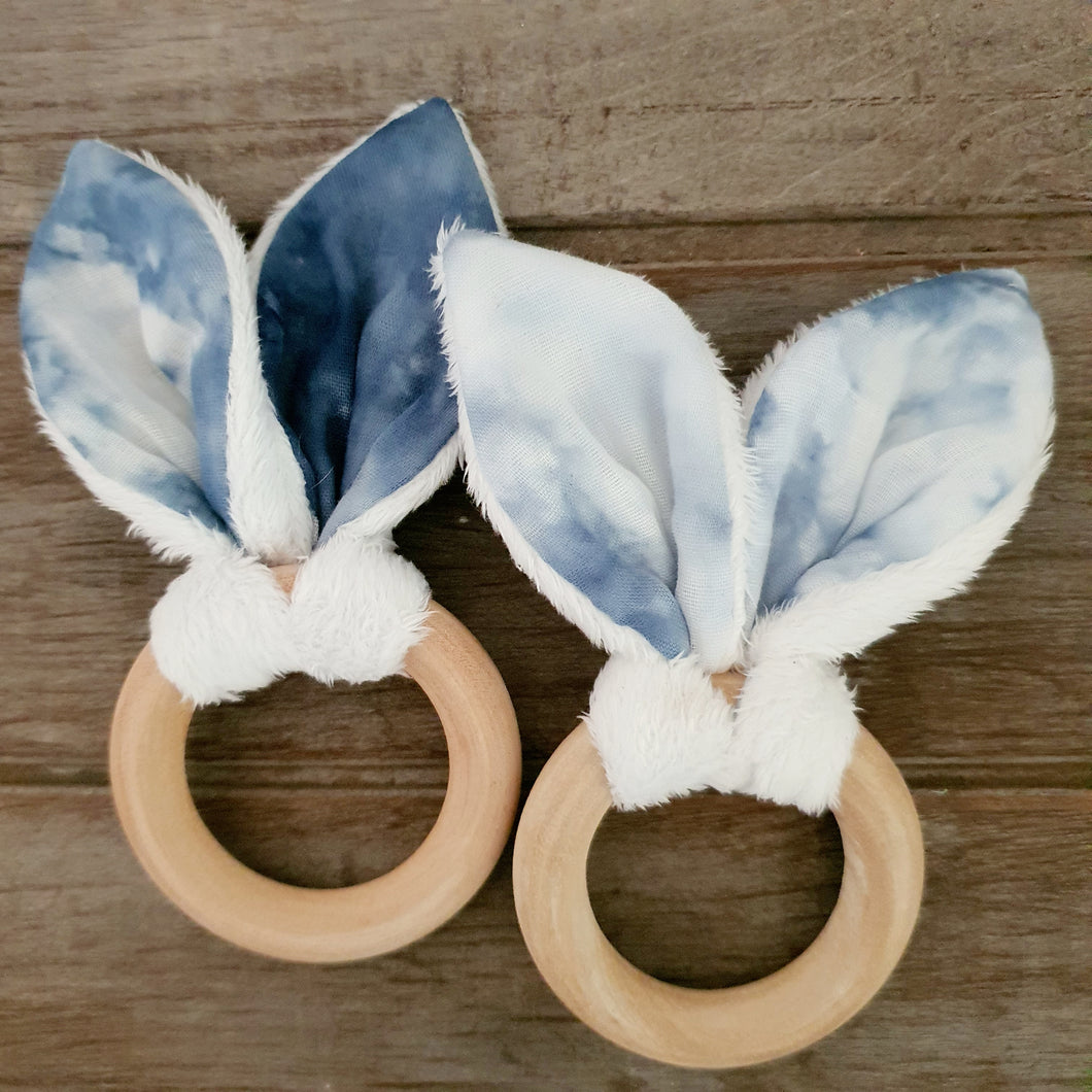 Bunny Ears Teething Ring - Shibori