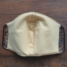 3 Layer, Washable, Reversible Fabric Face Mask - Brown/Blue Geo - Bamboo Filter layer With FREE Adustable Ear Saver Strap and FREE POSTAGE