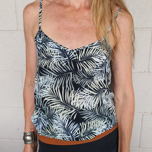 Ladies Tropical Camisole Top - Onyx Tropics