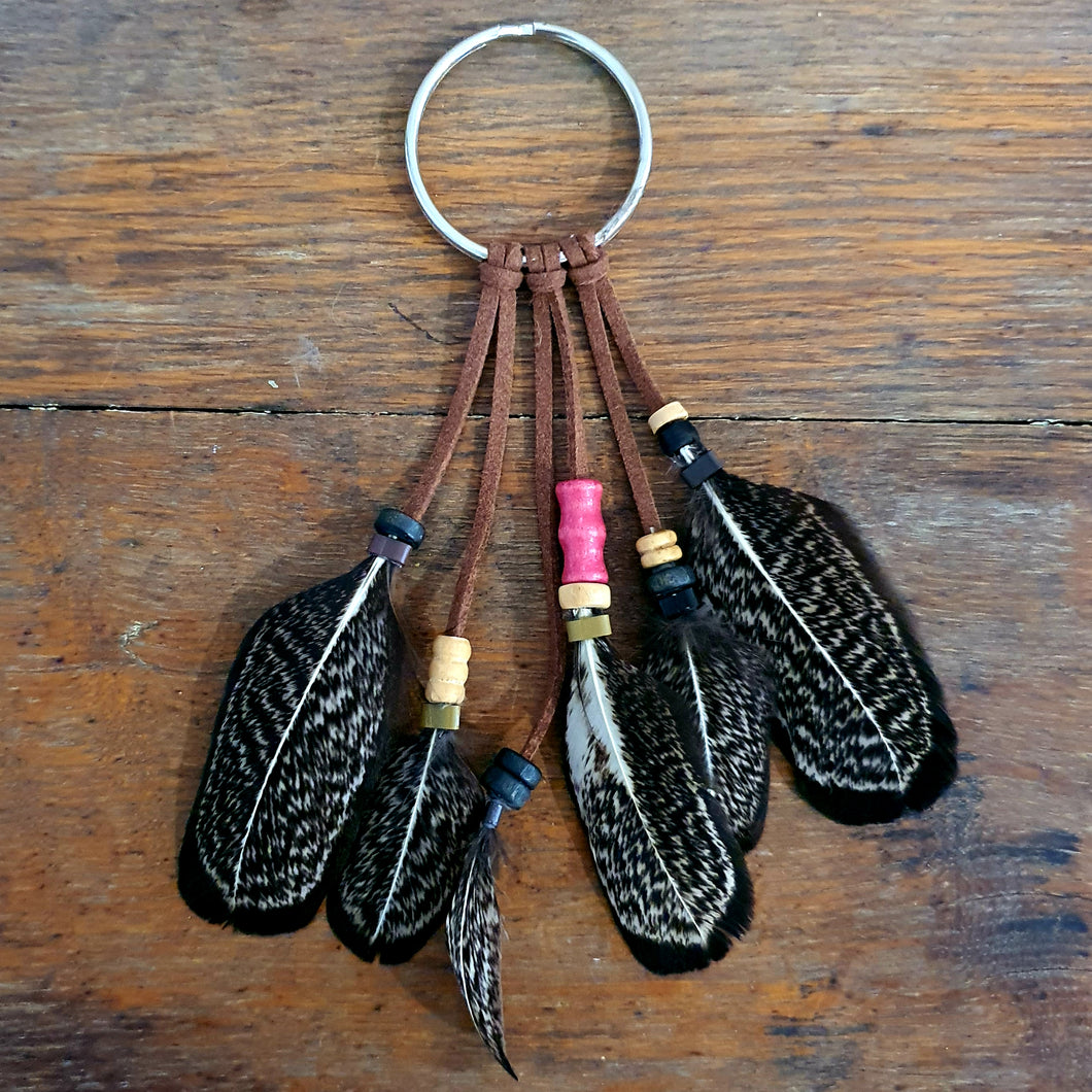 Handmade Feather Keyring - Tan Pink