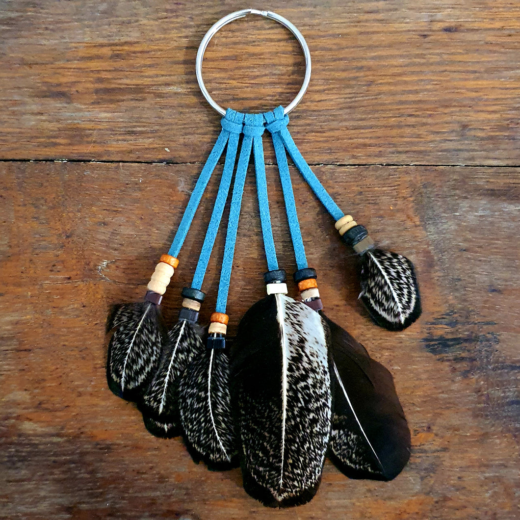 Handmade Feather Keyring - Turquoise