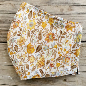 Layer, Washable, Reversible Fabric Face Mask - Mustard Blossom - Bamboo Filter Layer with FREE Ear Saver Strap and FREE POSTAGE