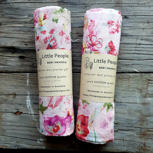 Muslin Swaddle - Pink Blossom - Extra Large