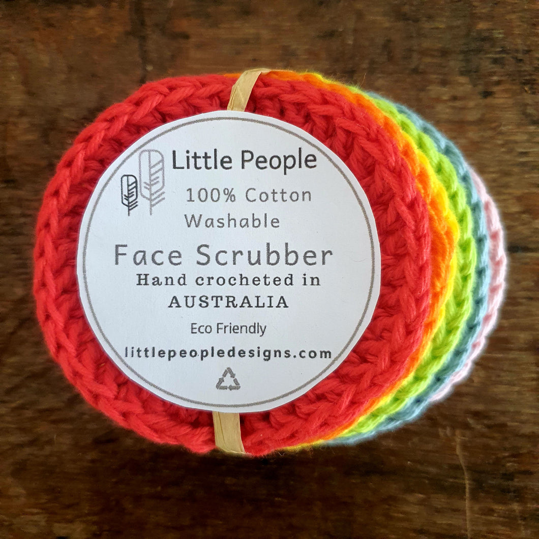 6 Pack of 100% Cotton Face Scrubbies - Rainbow Love