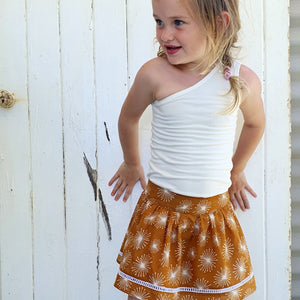 French Cotton Skirt - Mustard Sparkle