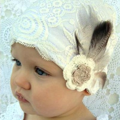 Lace Bonnet - Duck Feather