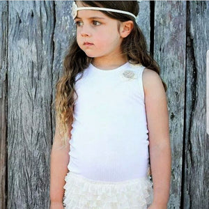 Ivory Ruffle Dress with Hand Crochetted Flower Detail