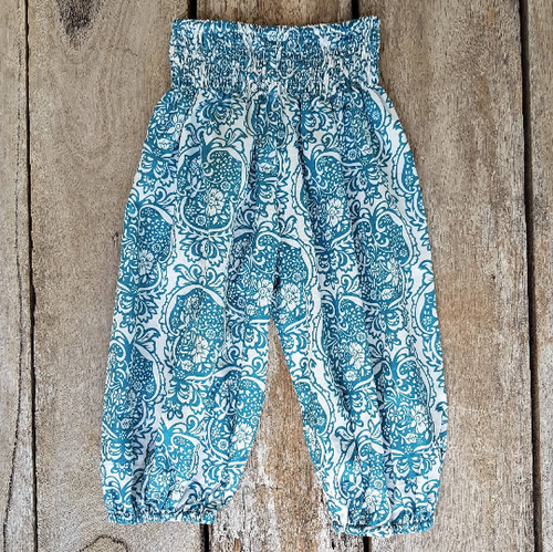 Aqua Boho Pants. Summer Pants. Cotton voile