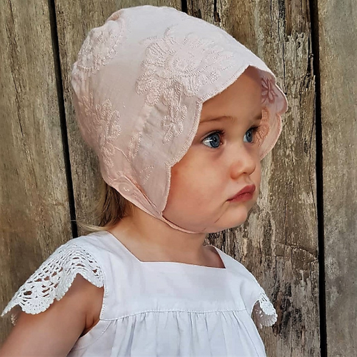 Dusty Pink Embroidered Lace Bonnet