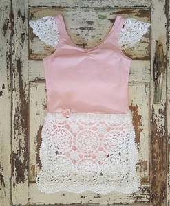 Ballerina Style Bodysuit with Vintage Crochet and Flower Detail