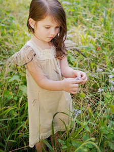 Flowergirl Feather Dress - Stone