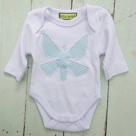 Hand Appliqued Butterfly Bodysuit.  Turquoise. Long Sleeved