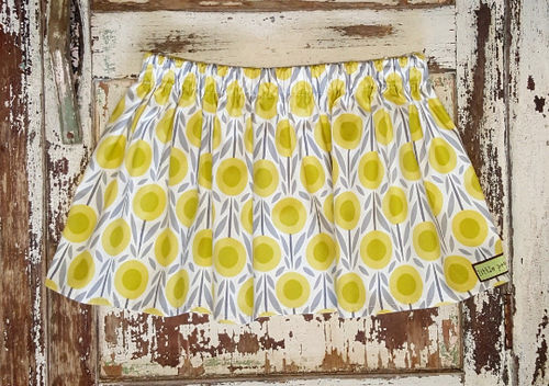 100% Cotton Summer Yellow Flower Skirt