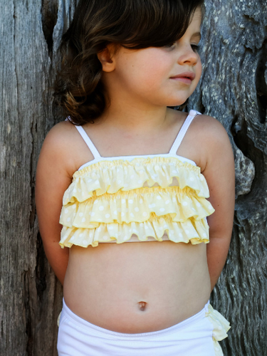 Lemon Ruffled Crop Top - One Size - Fits from 6 mnths to 5 yrs