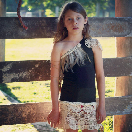 Single Shoulder Onyx Boho Style Dress with Vintage Crochet and Feather Detail
