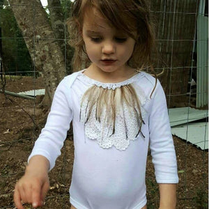 Vintage Crochet and Emu Feather Bodysuit. Long Sleeved