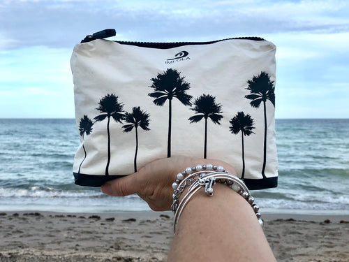 Small Miami Beach Palms Pouch in Black and White