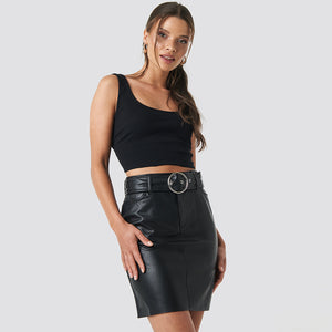 NAKD SIMILI BELTED MINI SKIRT