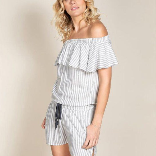 DEELUXE FAYME STRIPES LUREX SHORT JUMPSUIT