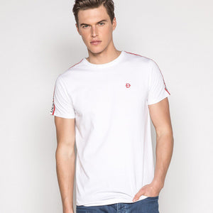 Deeluxe White Tee Shirt with D Sign on Chest
