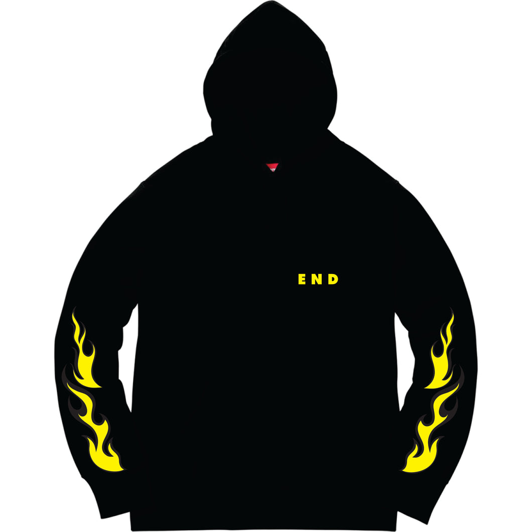Hoodie with a rose on flames and flames on the sleeve.