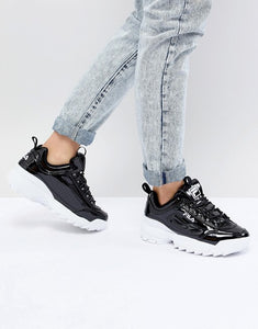 Shiny Black FILA Disruptor II Premium Shoes for Women