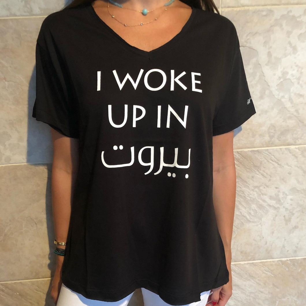black v-neck tee with i woke up in beirut print