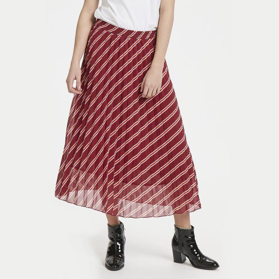 ICHI STRIPED MIDI SKIRT
