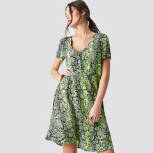 Load image into Gallery viewer, Neon snake print dress