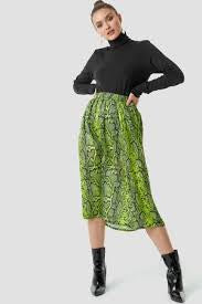 women's snake print green midi skirt
