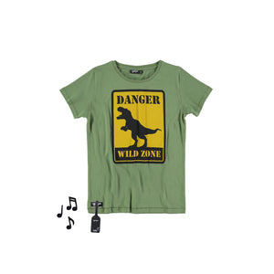 boys shirt with dinosaur print and sound pouch
