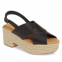 Load image into Gallery viewer, Open Toe Black Platform Wedges